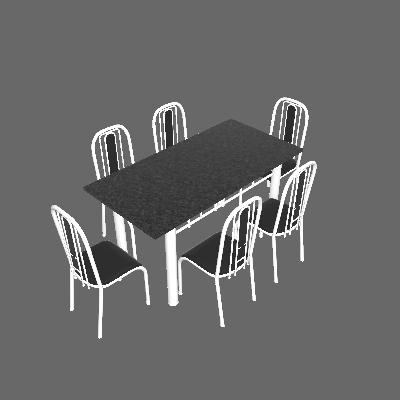 Conjunto de Mesa Granada com 6 Cadeiras Branco e Preto Liso - Fabone