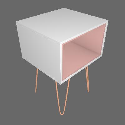 Mesa Lateral Retangular Dallas Branca e Rosé - Olivar Móveis