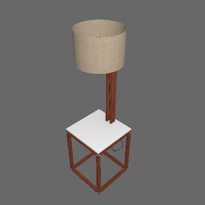 Mesa Lateral Quadrada com Luminária Supreme Branca e Amêndoa - Tebarrot