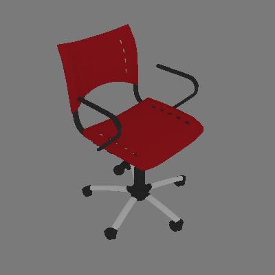Cadeira de Escritório Secretária Giratória Evidence I Cromada e Vermelho - Absolut