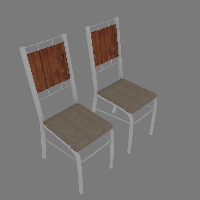 Conjunto com 2 Cadeiras Wos II Marrom - Carraro