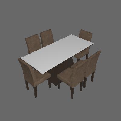 Conjunto de Mesa Luna com 6 Cadeiras Grécia Castor Branco Com Suedi Am. Chocolate - Rufato