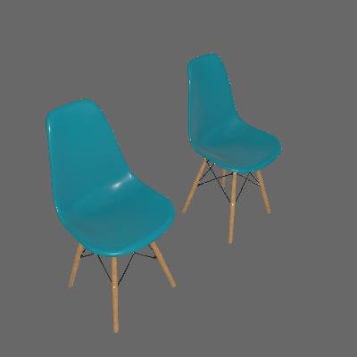 Conjunto com 2 Cadeiras Eames Premium Azul Turquesa Base Madeira - Mobly