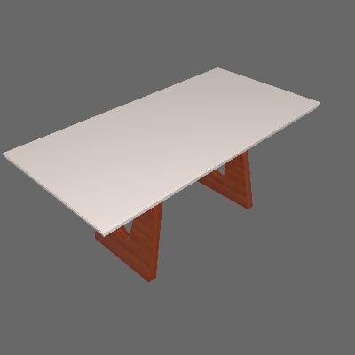 Mesa de Jantar Retangular com Tampo de Vidro Escócia Off White e Imbuia 180 cm