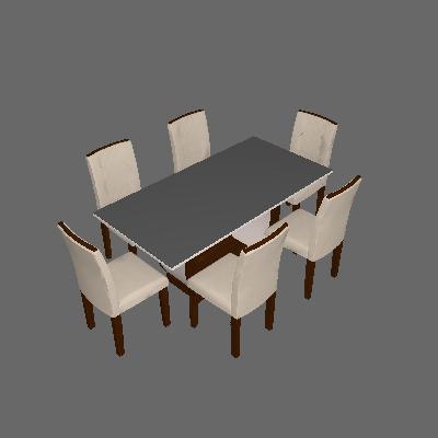Conjunto de Mesa de Jantar com 6 Cadeiras Estofadas Maia II Veludo Off White e Creme - Rufato