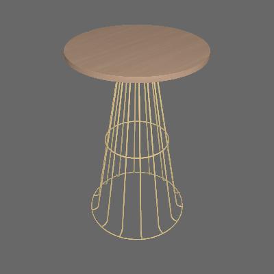 Mesa Lateral Redonda Zed Dourada e Legno - Metaltru