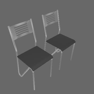 Kit 2 Cadeiras Nápolis Cromada Preto Kappesberg - Kappesberg