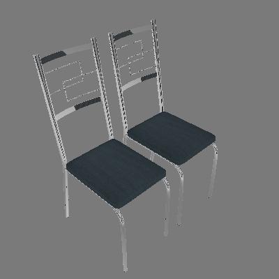 Conjunto com 2 Cadeiras Cerise Azul - Carraro