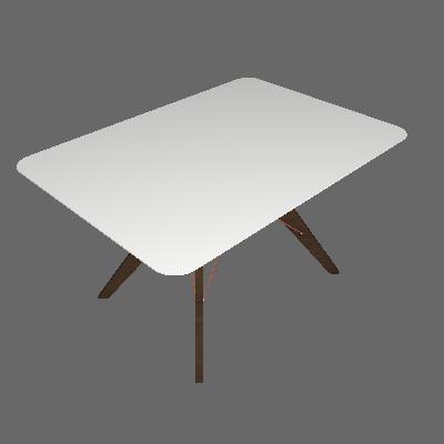 Mesa de Jantar Retangular Cleo Off White e Café 100 cm - Brigatto