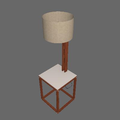 Mesa Lateral Quadrada com Luminária Supreme Off White e Amêndoa - Tebarrot