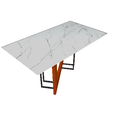 Mesa de Jantar Retangular com Tampo de Vidro Munique Ipê e Carrara 160 cm - New Ceval
