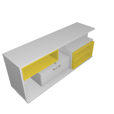 Rack Versátile Branco e Amarelo 155 cm