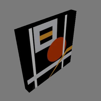 Quadro Abstrato Bola Uniart Preto & Vermelho 30x30cm - Uniart