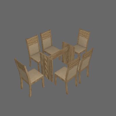 Conjunto de Mesa Hawai I com 4 cadeiras Ypê e Capuccino 120cm - Leifer