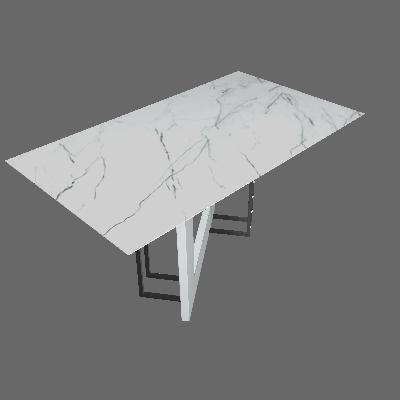 Mesa de Jantar Retangular com Tampo de Vidro Munique Off White e Carrara 160 cm - New Ceval