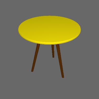 Mesa Lateral Redonda Toka Castanho e Amarela 50 cm - Uvim