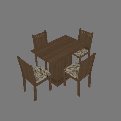 Conjunto de Mesa com 4 Cadeiras Lexy Rustic e Lirio Bege - Madesa