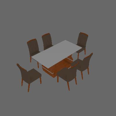 Conjunto de Mesa de Jantar I com 6 Cadeira Esmeradas Veludo Branco e Camurça - Leifer
