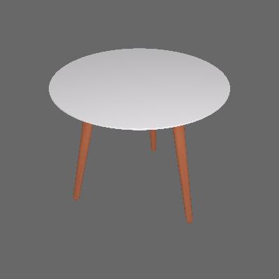 Mesa de Jantar Redonda Bruna Branca e Natural 90 cm - Artesano