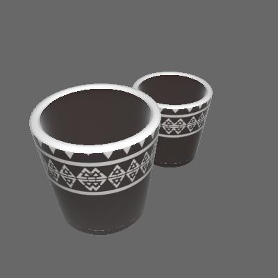 Kit 2 Vasos Cerâmica Folk Mufete Pequeno Marrom (89874932)