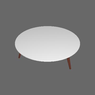 Mesa de Centro Redonda Amanda Branca e Marrom Escuro - Artesano