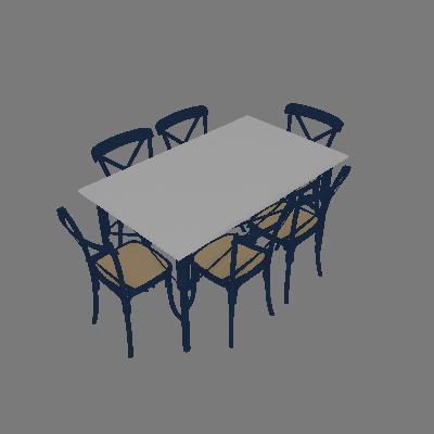 Conjunto de Mesa de Jantar com 6 Cadeiras e Tampo de Madeira Katrina Azul - New Green