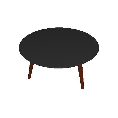 Mesa de Centro Redonda Luana Preta e Marrom Escuro - Artesano