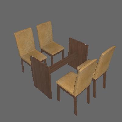 Conjunto de Mesa com 4 Cadeiras de Jantar Martina Suede Rústico Imperial - Madesa