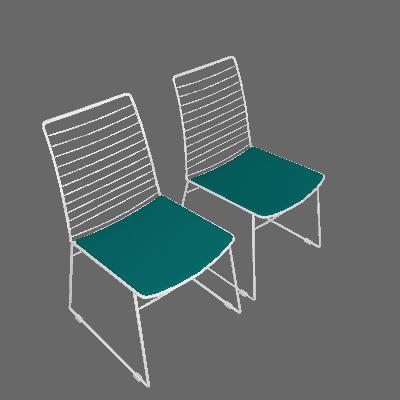 Conjunto 2 Cadeiras Dance Cromada Turquesa - Carraro Móveis