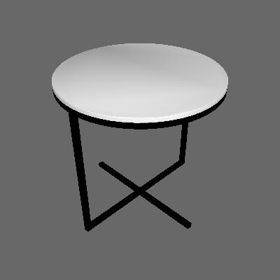 Mesa Lateral Redonda Complementos Branca e Preta - Artesano