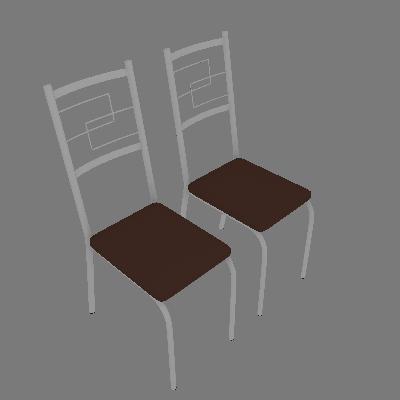 Conjunto com 2 Cadeiras Cerise II Marrom - Carraro