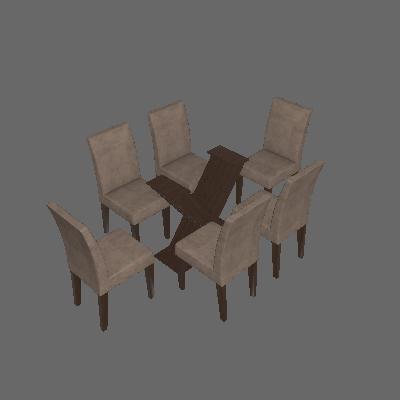 Conjunto Mesa Verona com 6 Cadeiras Grecia Suede Castor e Chocolate