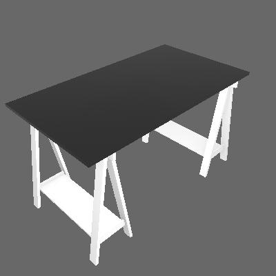 Mesa Escrivaninha Cavalete/Tampo Branco/Preto - Uvim