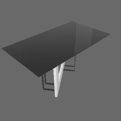 Mesa de Jantar Retangular com Tampo de Vidro Munique Off White e Preta 160 cm - New Ceval