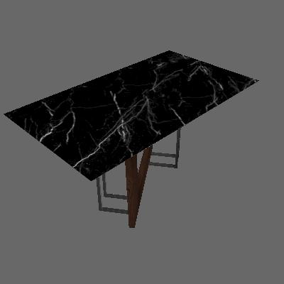 Mesa de Jantar Retangular com Tampo de Vidro Munique Castanho e Nero 160 cm - New Ceval