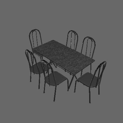 Conjunto de Mesa Miame com 6 Cadeiras Madri Preto Prata e Cinza Liso - Fabone