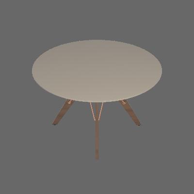 Mesa de Jantar Redonda com Tampo de Vidro Victoria Off White e Avelã 120 cm - Brigatto