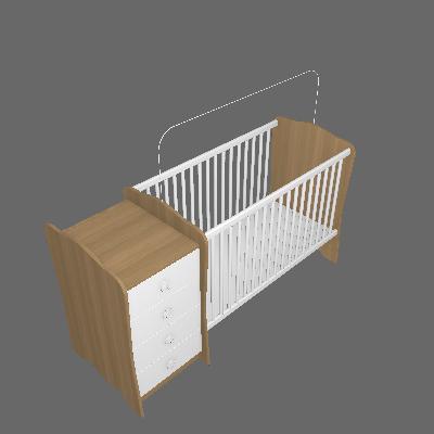 Berço com Cômoda Baby Estrela Unissex Avelã e Branco - Hecol