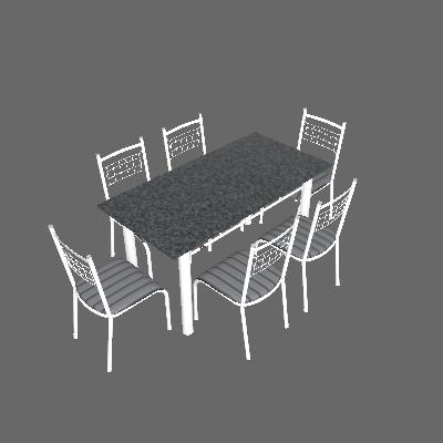 Conjunto de Mesa com 6 Cadeiras Lisboa Branco Liso E Preto Listrado - Fabone