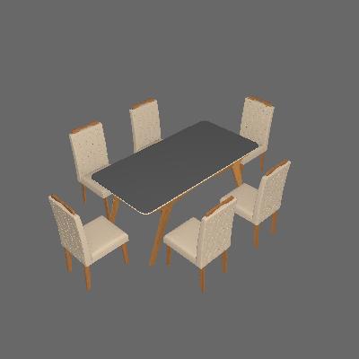 Conjunto de Mesa de Jantar Retangular com Tampo de  Vidro e 6 Cadeiras Estofadas Selena Suede Off White e Joli - Cimol
