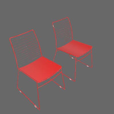 Conjunto 2 Cadeiras Dance Vermelho - Carraro Móveis