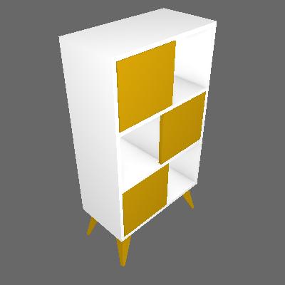 Estante Vivva Branco e Amarelo Multivisão - Multivisão