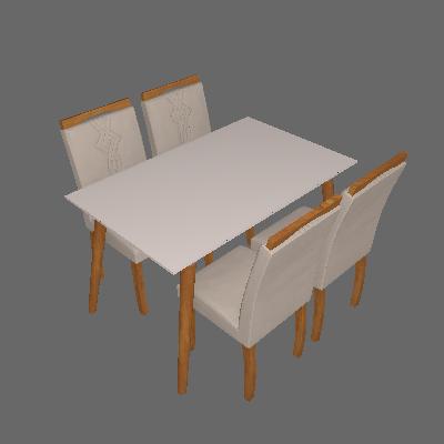 Conjunto de Mesa de Jantar Adele com 4 Cadeiras Laura Suede Off White e Marrom - Cimol