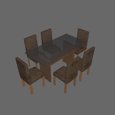 Conjunto Mesa Ravena Plus com 6 Cadeiras de Jantar Village Nogueira Suede Animale Marrom