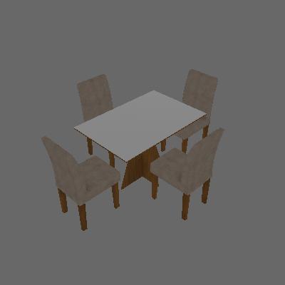Conjunto de Mesa de Jantar Creta II com 4 Cadeiras Olímpia Suede Branco e Palha - Leifer