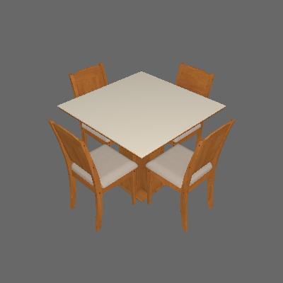 Conjunto de Mesa de Jantar Sophia com 4 Cadeiras Bárbara Suede Off White e Marfim - Cimol