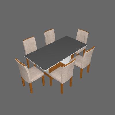 Conjunto de Mesa de Jantar com 6 Cadeiras Estofadas Maia Animalle Off White e Chocolate - Rufato
