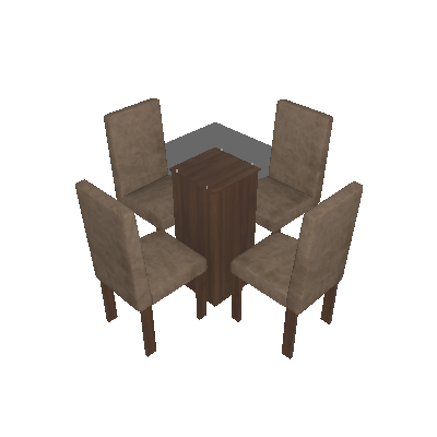 Conjunto Mesa Havana com 4 Cadeiras de Jantar Village Malbec Suede Animale Bege - Quality