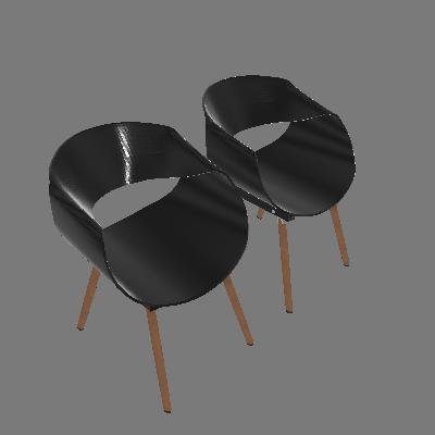 Conjunto com 2 Cadeiras Infiniti Preta - Mobly