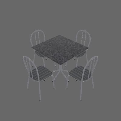 Conjunto de Mesa Thais com 4 Cadeiras Branca Linho - Artefamol